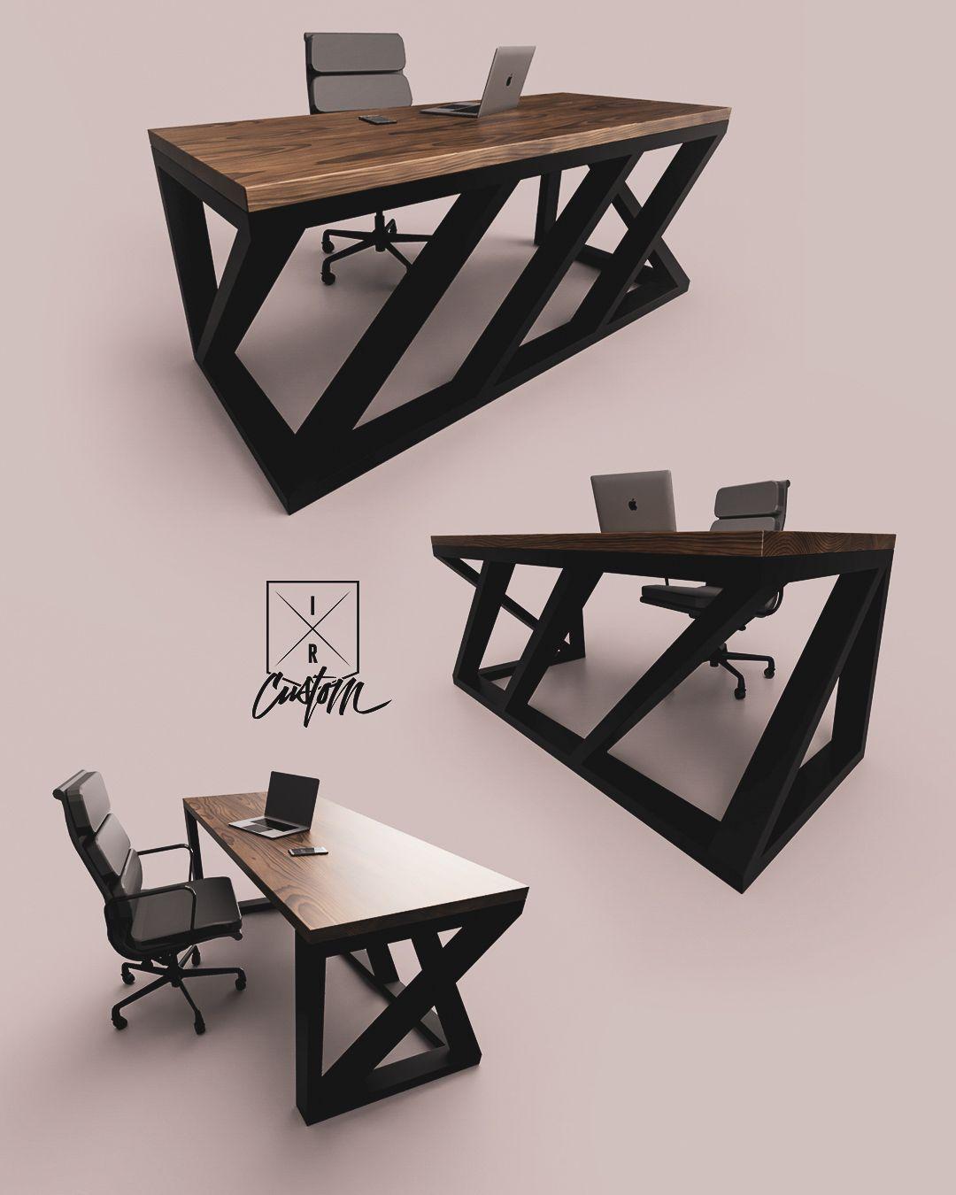 mellow twists black steel base walnut top 100 custom modern desks rh pinterest com