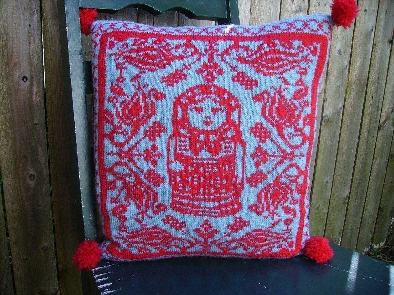 PDF Knitting Pattern-Folkloric Matryoshka Pillow. via Etsy.