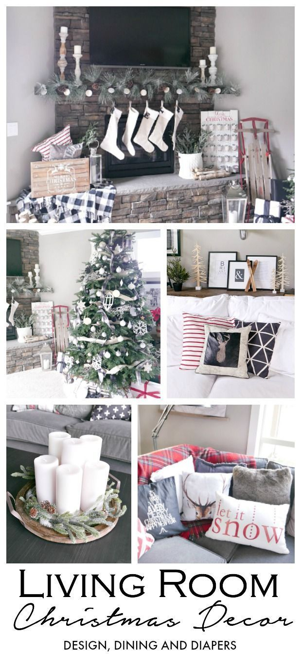 Red Black and White Living Room Christmas