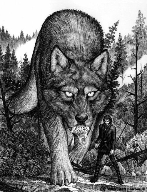 Fenrir (or Fenris) is a gigantic and terrible monster in the shape of a wolf. He is the eldest child of Loki and the giantess Angrboda. The gods learned of a prophecy which stated that the wolf and his family would one day be responsible for the destruction of the world. They caught the wolf and locked him in a cage. Only the god of war, Tyr, dared to feed and take care of the wolf.