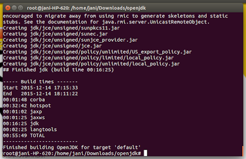 i compiled openjdk-8 for android in ubuntu  compile duration (with