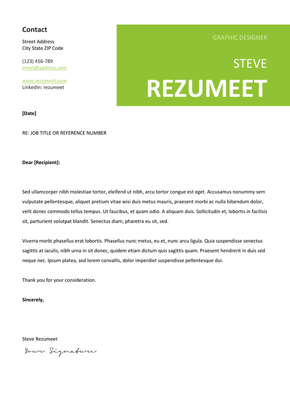 Peckham  Free Cover Letter Template  Green  Classic Resume