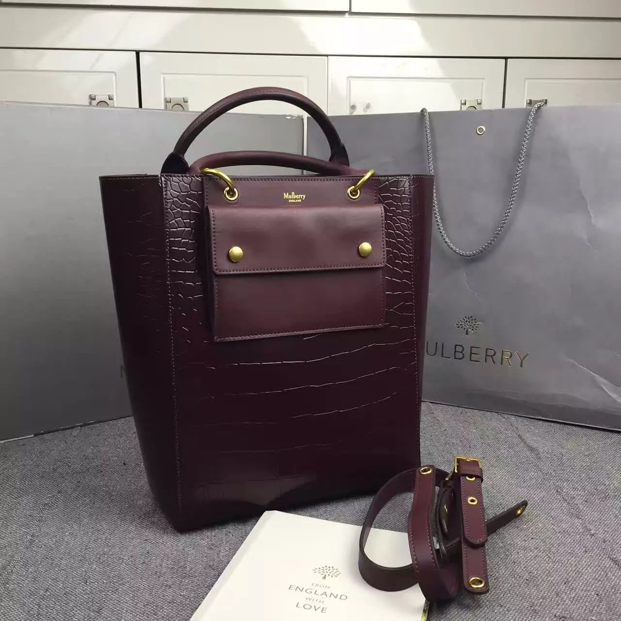 New Edition!2016 Mulberry Handbags Collection Outlet UK-Mulberry Maple  Oxblood Polished Embossed Croc 3f8815adeaa0a