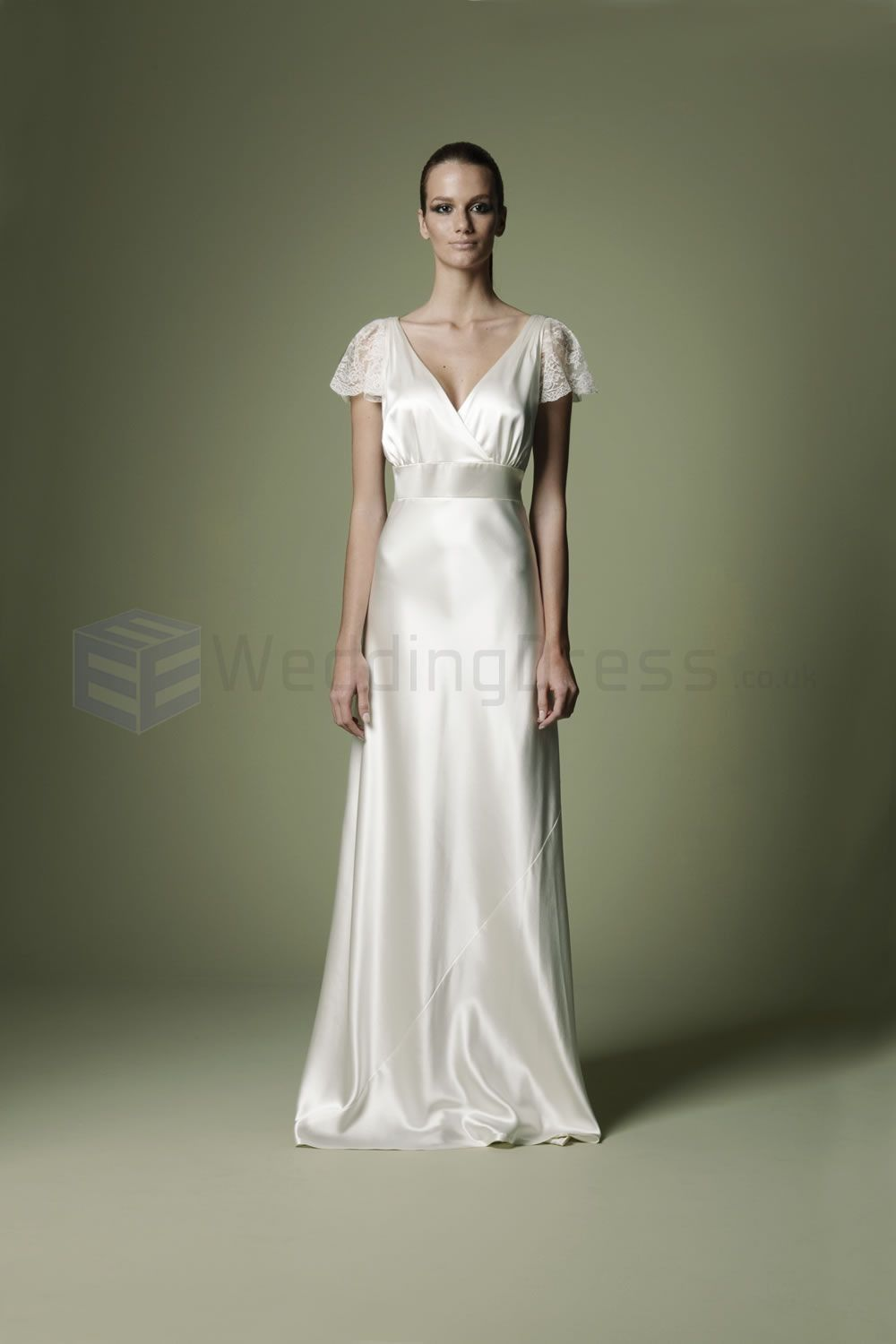 Vintage style wedding dresses crossover bodice deep for Wedding dress neckline styles