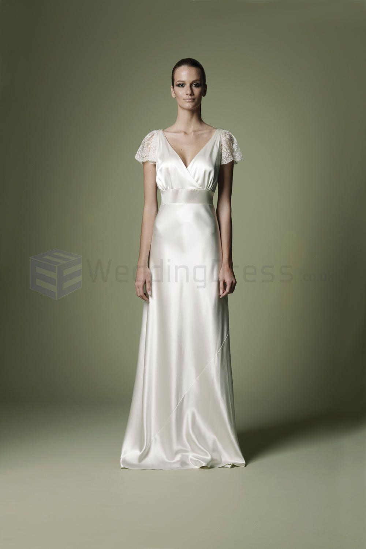 Vintage Style Wedding Dresses | ... Crossover Bodice Deep V-Neckline ...