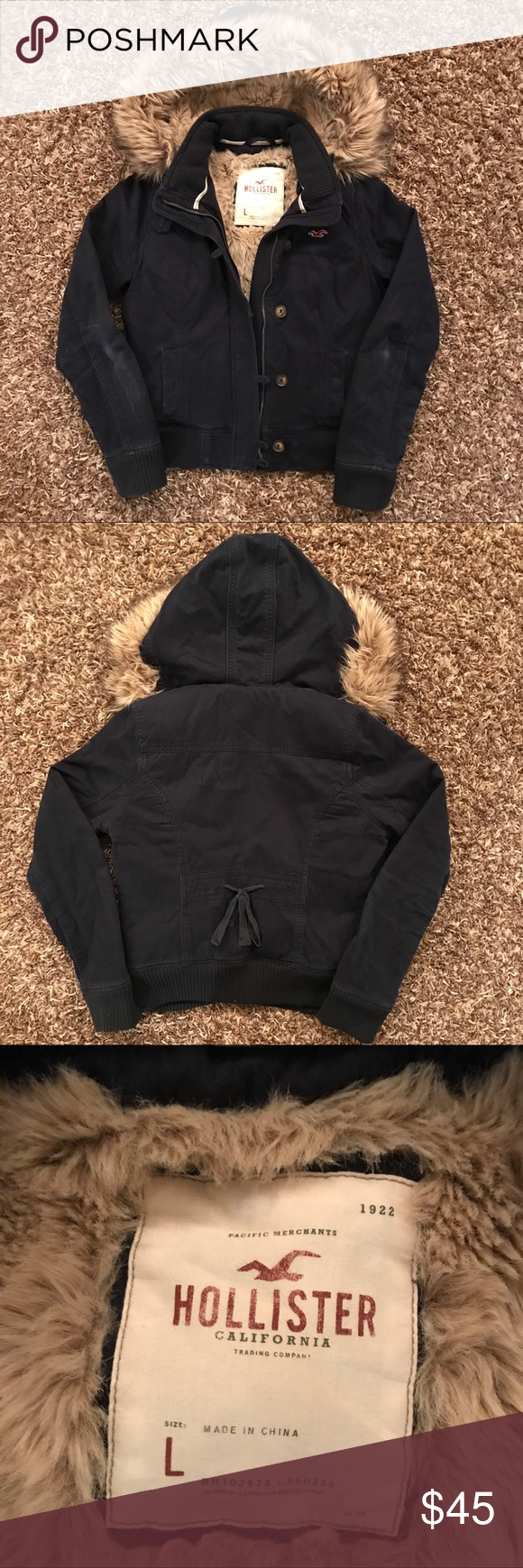 Hollister Winter Jacket Navy And Fuzzy Fashion Clothes Design Fashion Design [ 1740 x 580 Pixel ]