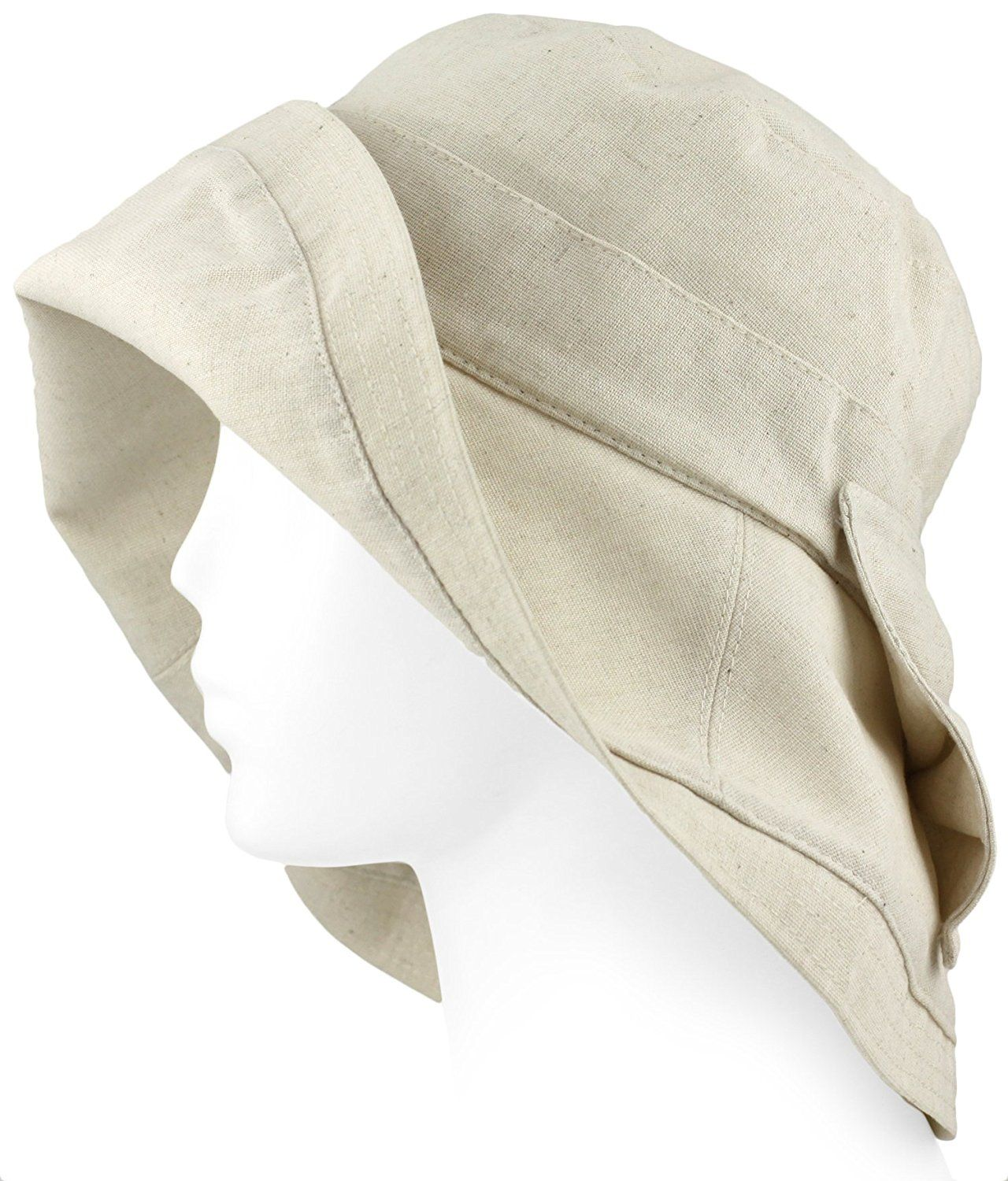Large Soft Adjustable Brim Sun Hat - Linen and Cotton - Cream -- Remarkable product available now. : Best Travel accessories for women
