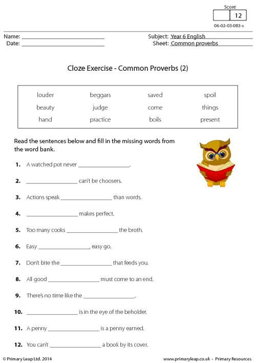 cloze exercise common proverbs 2 worksheet english for kids. Black Bedroom Furniture Sets. Home Design Ideas