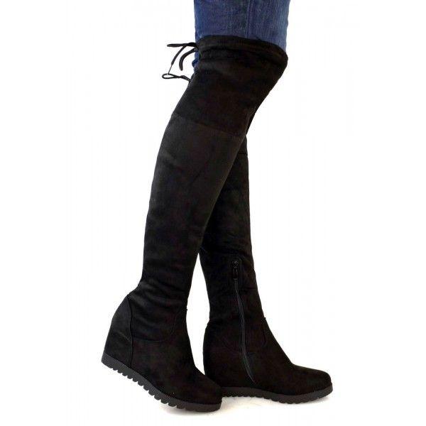 a60f5525ebf1 Semišové čižmy nad kolená na platforme Slim Black