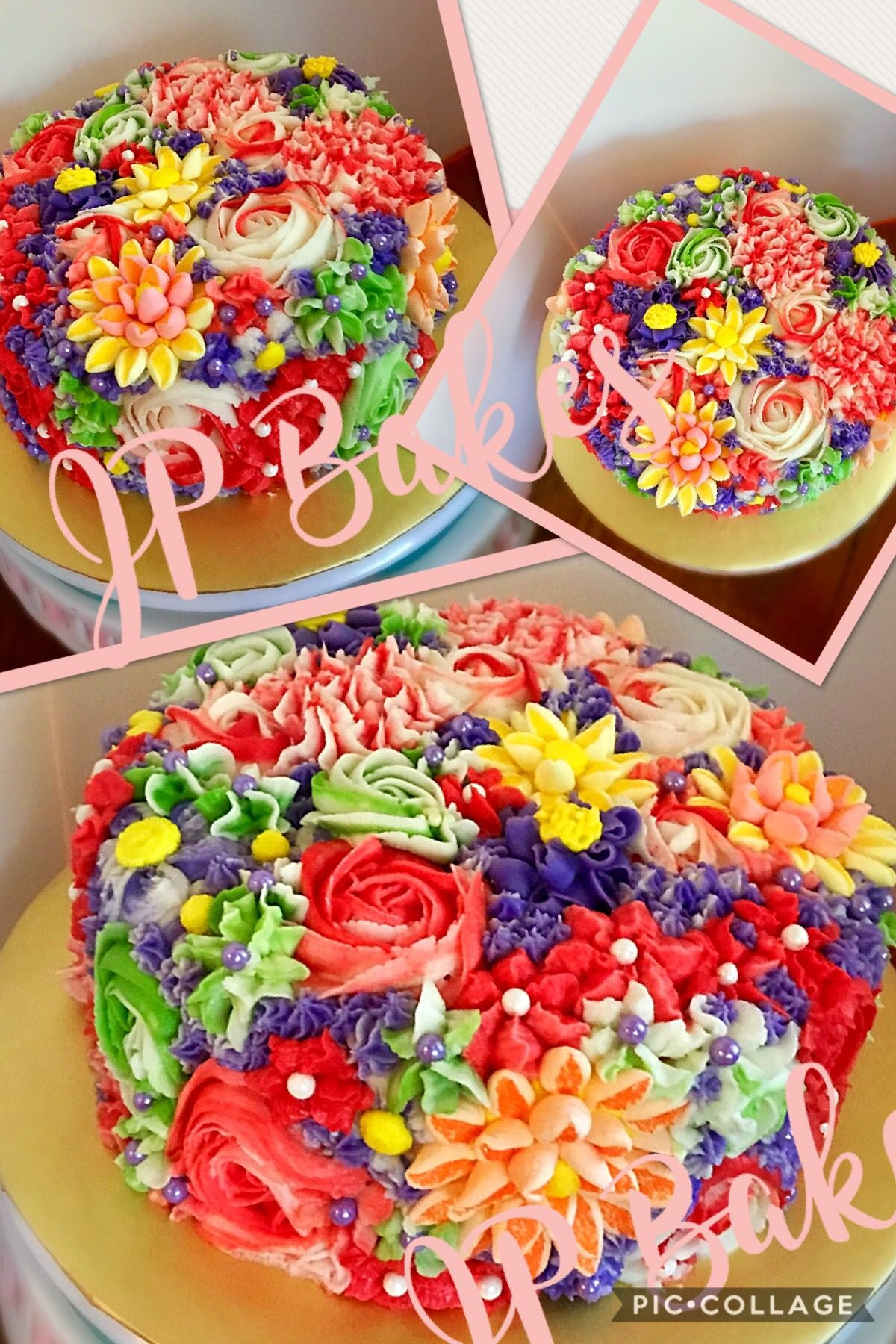 Wondrous Bright Summery Buttercream Floral Birthday Cake By Jp Bakes Funny Birthday Cards Online Alyptdamsfinfo
