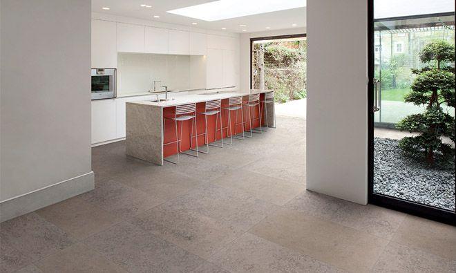 carrelage en gr s c rame teint dans la masse aspect pierre contemporaine de couleur grise. Black Bedroom Furniture Sets. Home Design Ideas