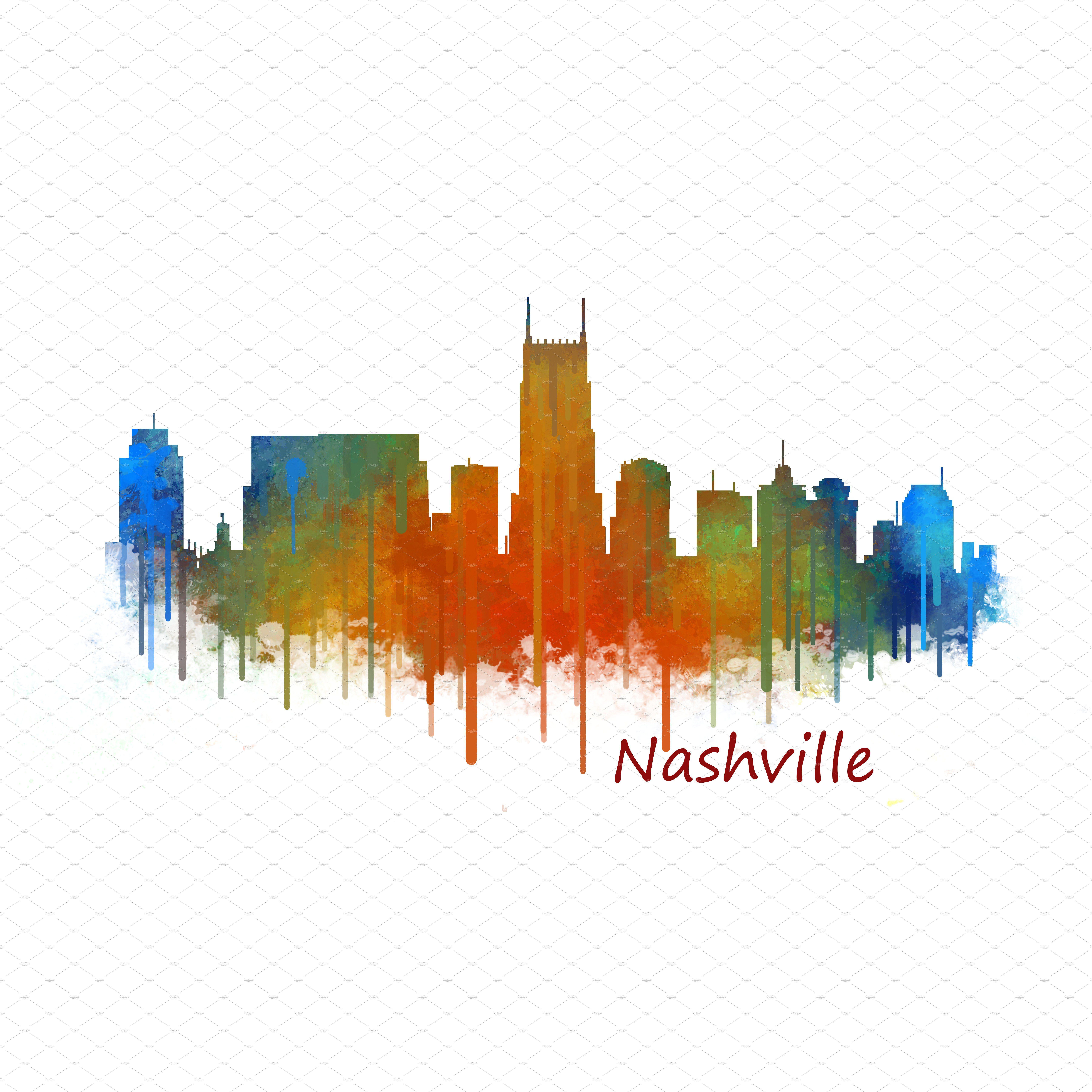 Nashville City Watercolor Skyline V2 Nashville City Nashville Skyline Artwork