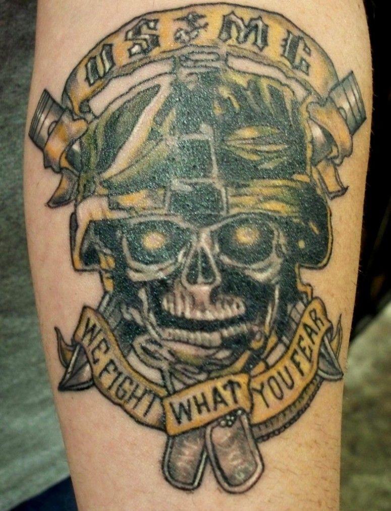 Marine Corps Tattoos Ideas: Marine Corps Tattoos: Marine Skull Large Design Tattoos