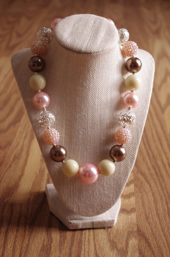 Pink, brown, and cream chunky beaded necklace, gumball necklace, bubblegum necklace