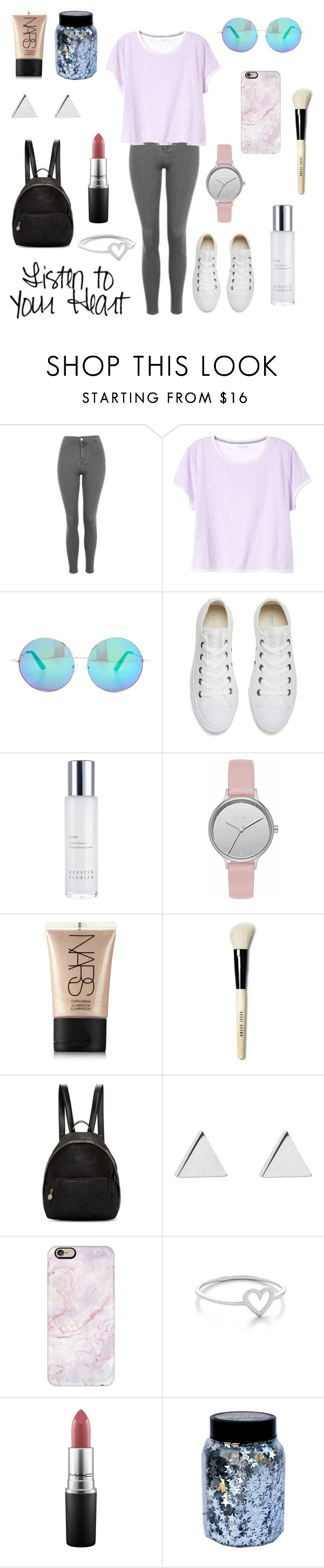 """""""Listen to your heart❣"""" by lucy672 ❤ liked on Polyvore featuring Topshop, Victoria's Secret, Matthew Williamson, Converse, Kerstin Florian, Skagen, NARS Cosmetics, Bobbi Brown Cosmetics, STELLA McCARTNEY and Jennifer Meyer Jewelry"""