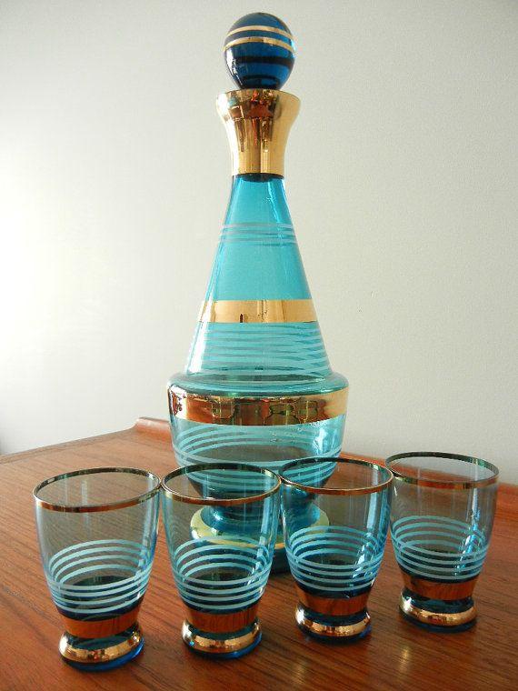 Vintage Wine Decanter Set Vintage Decanter Vintage Wine Vintage Glassware