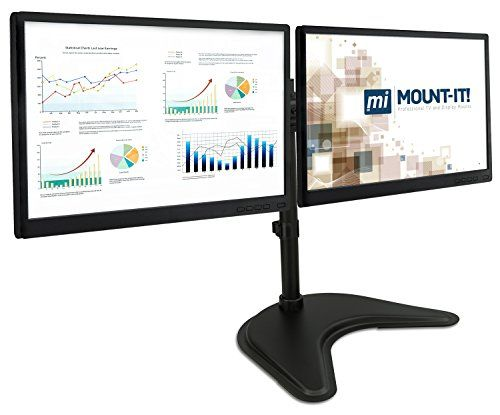 mount it mi 1781 dual monitor desk stand lcd mount adjustable rh pinterest com