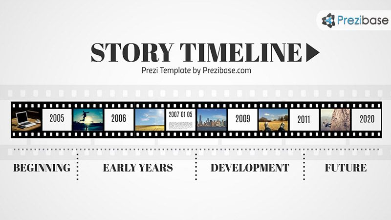 timeline roadmap template on movie tap film roll prezi presentation template - Prezi Resume Template