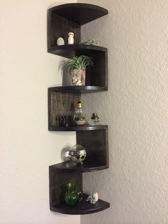 Handmade Zig Zag Rounded Front Corner Shelf Etsy Corner Shelf Design Corner Decor Wall Shelves Design