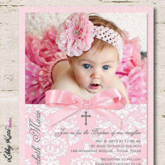 Girl Baptism Invitation Christening Invitation by LibbyKateSmiles