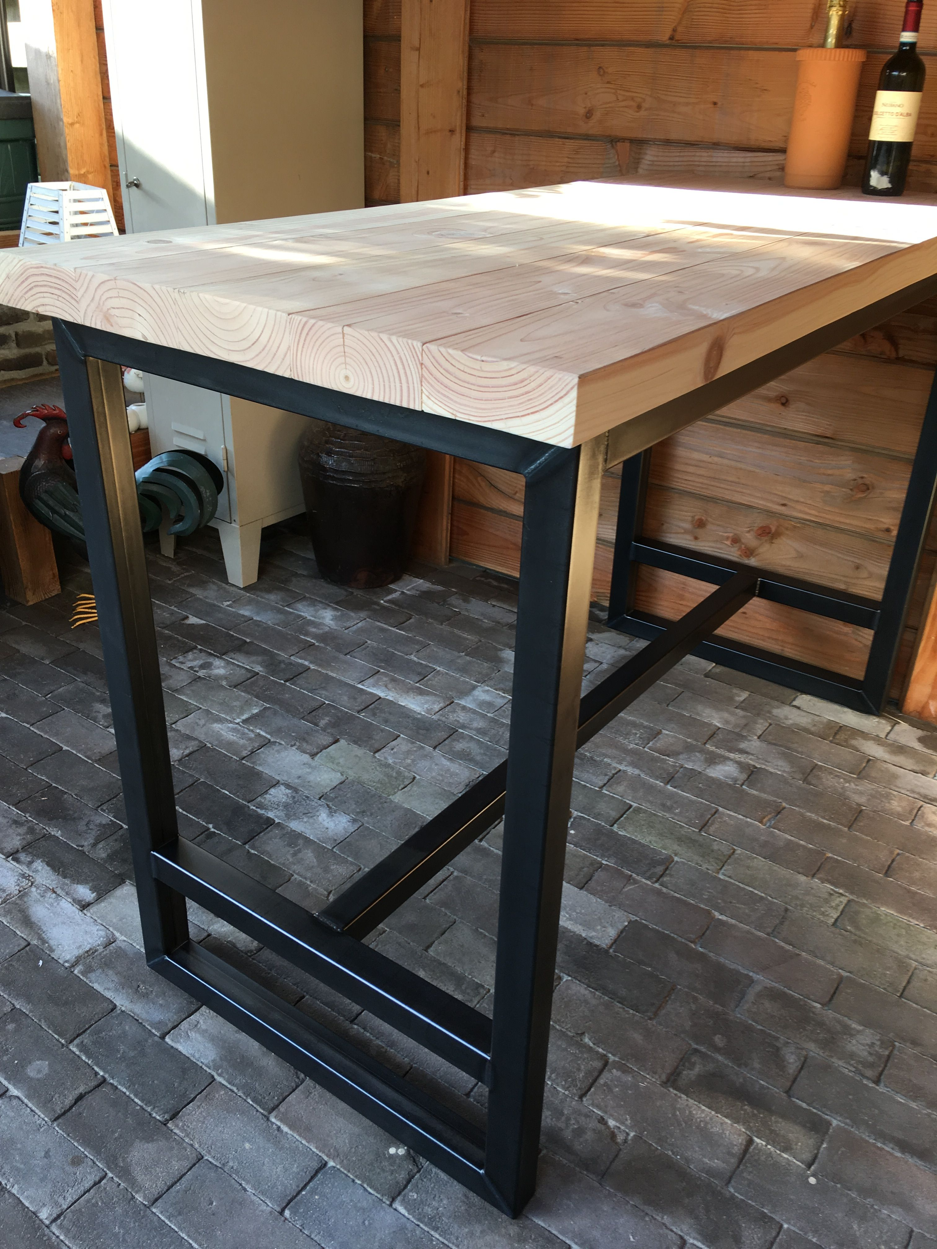 Tafel Tuin Hout.Bar Tafel Staal En Hout Outside The House In 2019