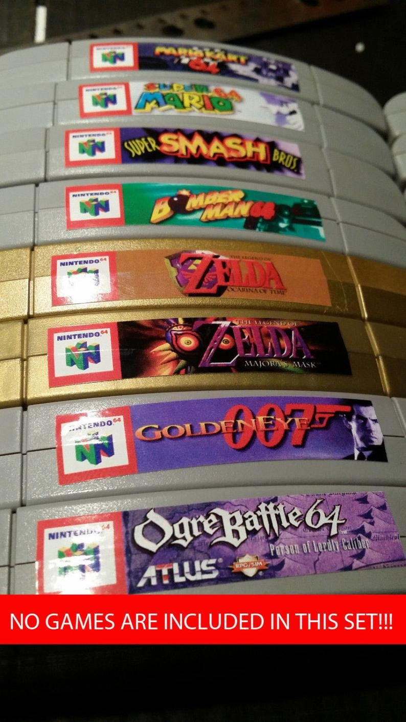 Nintendo N64 Cartridge Spine Top End Labels All U S Games Free U S Shipping Ocarina Del Tiempo Tom Y Jerry Star Fox