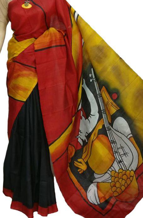 Black Handloom Murshidabad Silk   Saree