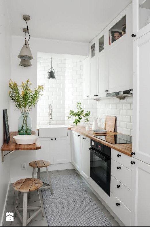 Aranżacje wnętrz  Kuchnia DOLNY MOKOTÓW  Mała kuchnia   -> Dluga Wąska Kuchnia W Bloku