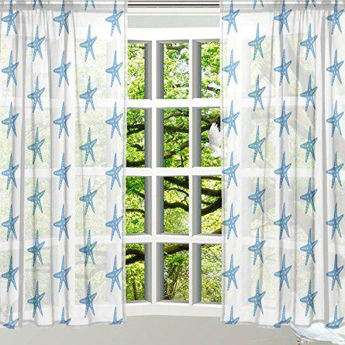 Alaza Window Sheer Curtain Panelschristmas Decoration Seashell Starfishdoor Window Gauze Curtains Livin Curtains Living Room Panel Curtains Living Room Bedroom
