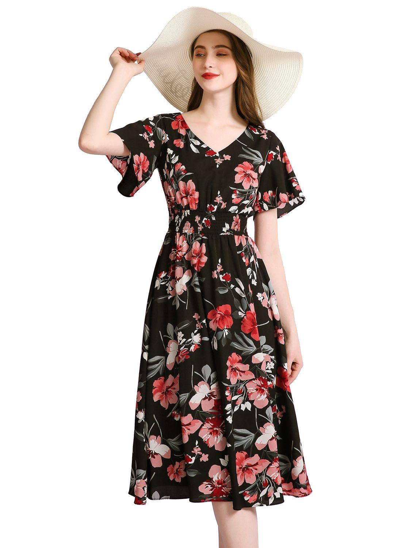 Floral Sun Dresses For Women Flowy Chiffon Dresses Summer Beach Casual Dress Chiffon Summer Dress Flowy Chiffon Dress Dresses [ 1500 x 1150 Pixel ]