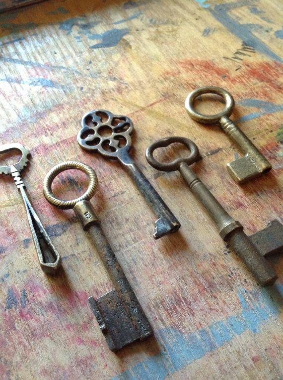 Antique Skeleton Key Set Brass Monkey Bunch Very RARE