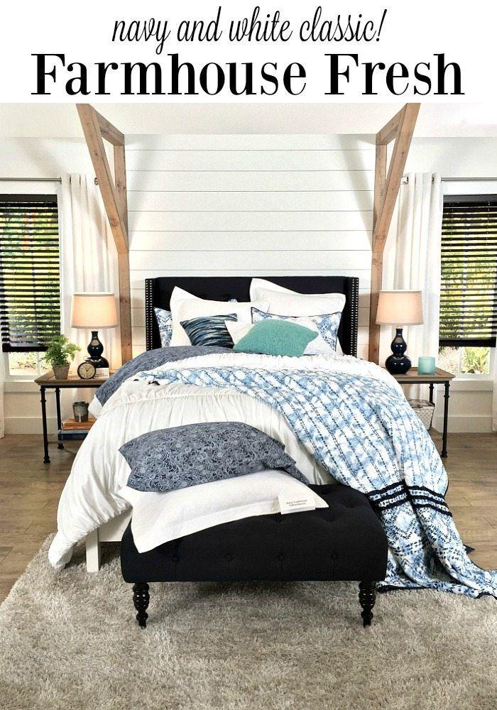 farmhouse bedroom navy white bhg live better farmhouse style rh pinterest com