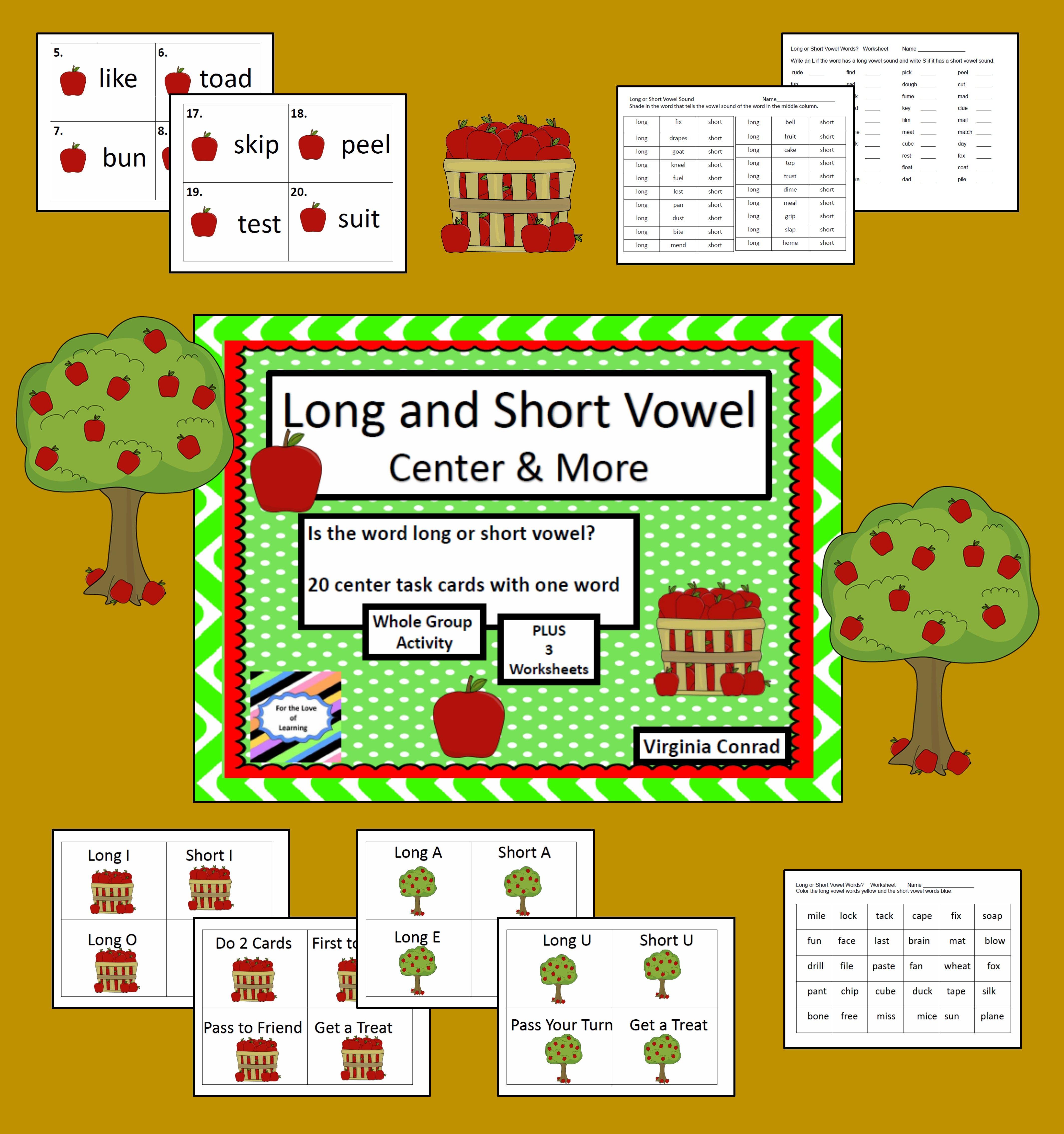 Long And Short Vowel Sounds Apple Theme