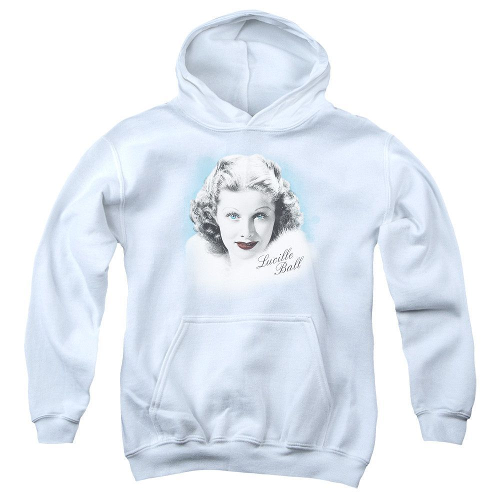 LUCILLE BALL/IN BLUE-YOUTH PULL-OVER HOODIE - WHITE -