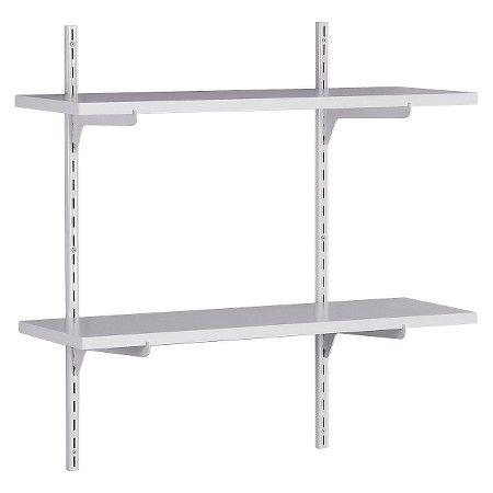 Closetmaid Wall Mounted Adjustable 2 Shelf Shelving Unit White