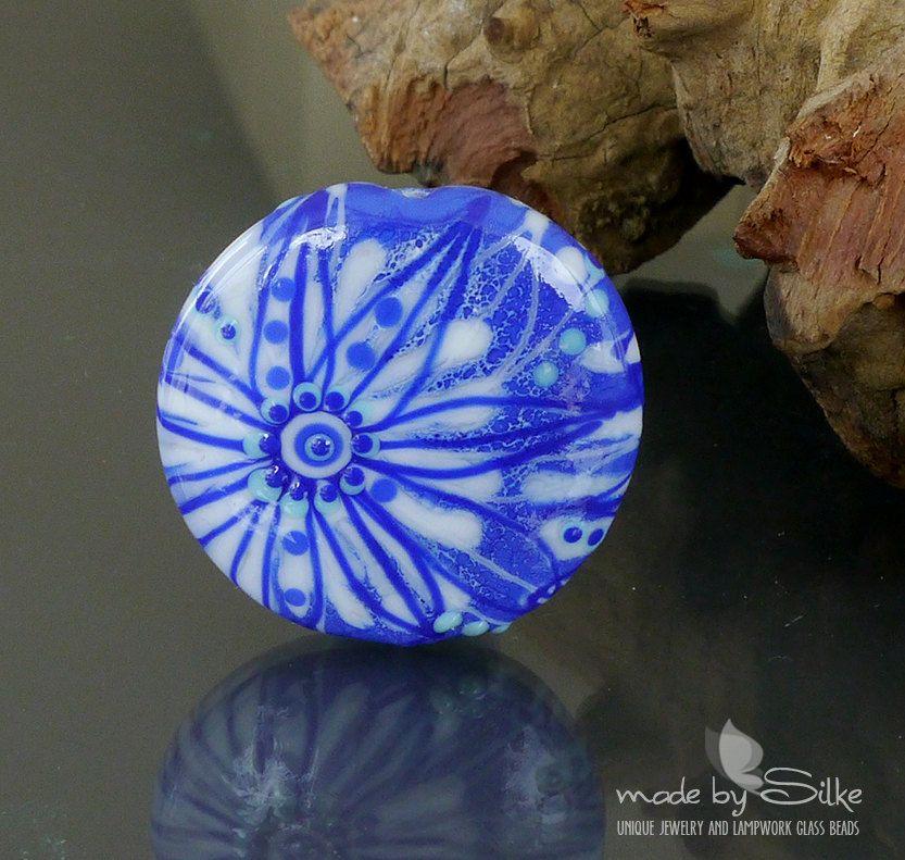 Handmade lampwork bead focal   |  Delft Porcelain |  lentil  |  SRA  |  artisan glass |  Silke Buechler by calypsosbeads on Etsy