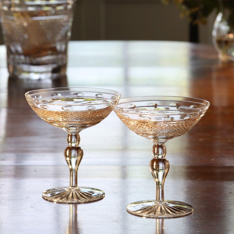 67c8969f30fd Cumbria Crystal Champagne Saucers