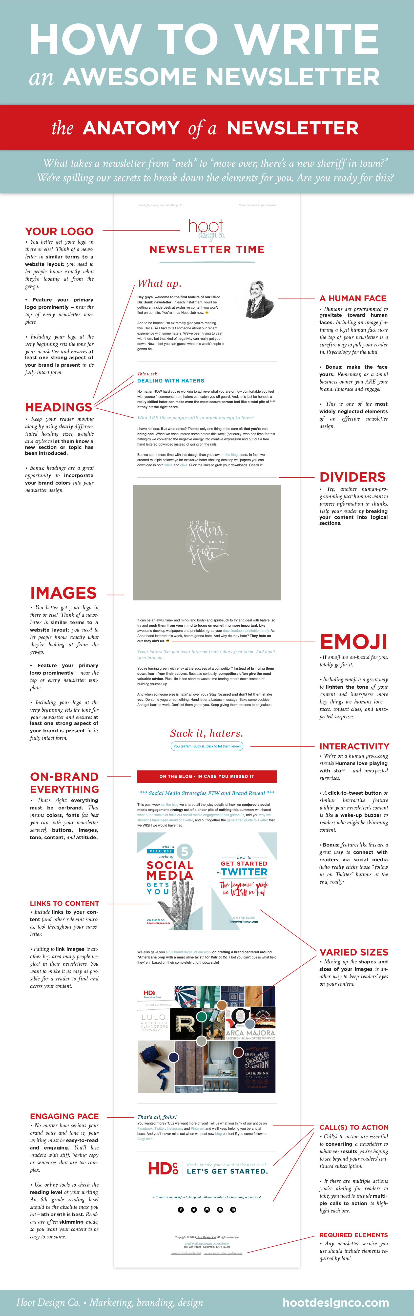 These are the key elements to writing a good newsletter. Keep them in mind when you go to write your next one! | Hoot Design Co.