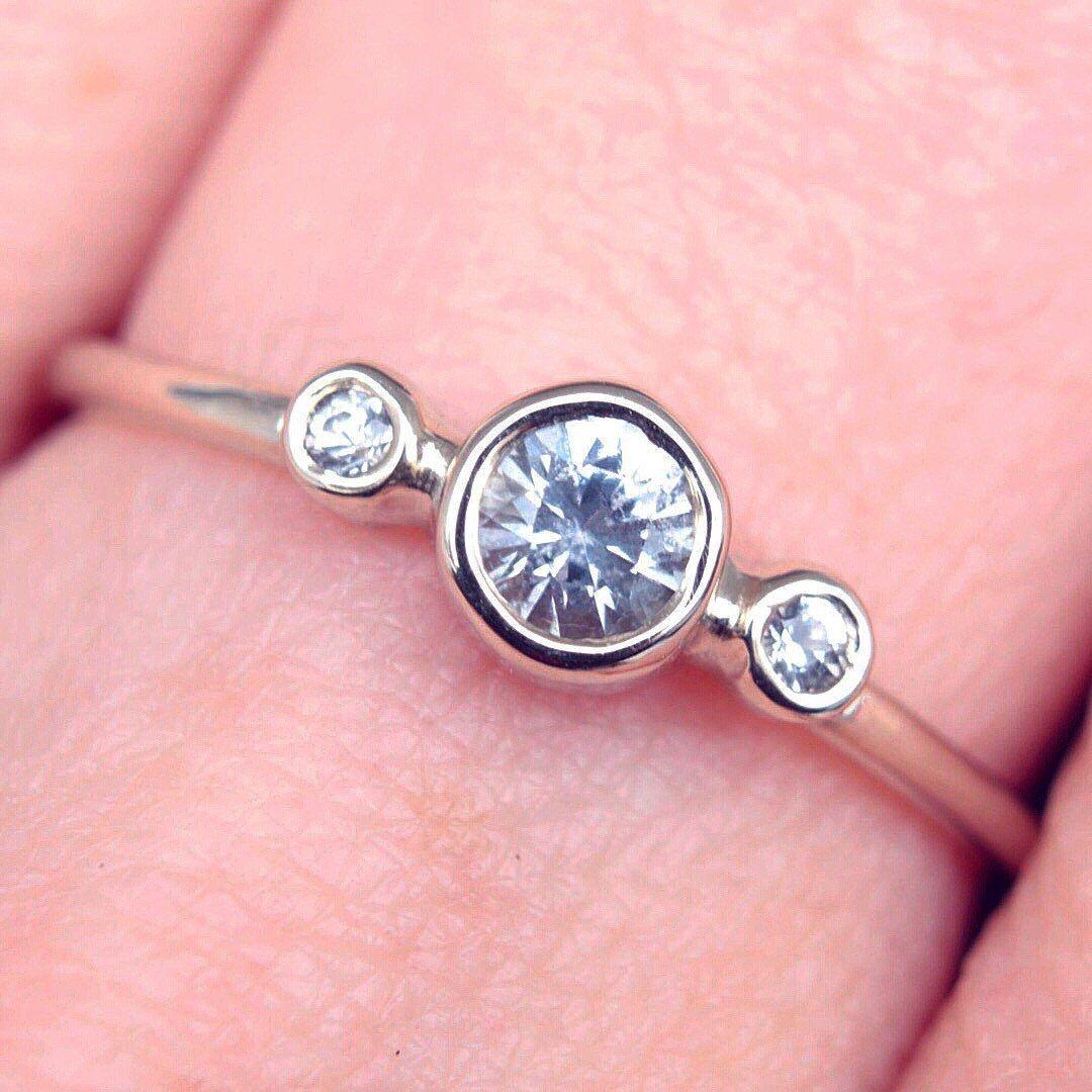 White Sapphire Gold Ring 14k Gold Natural White Sapphire Gold Ring ...
