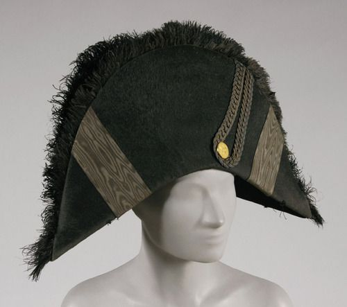 c384ae4b Bicorne hat, 1800-1825, black fur felt, black ostrich plumes, black moiré  ribbed silk ribbon, metallic thread braid, gold metal button, width: 18  inches, ...