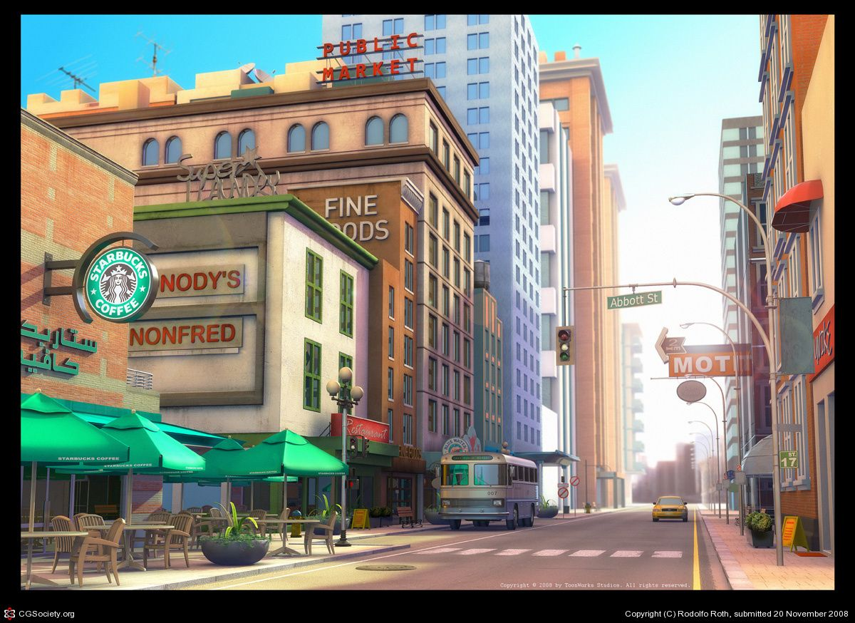 New York City Street City Cartoon Concept Art Animation Background