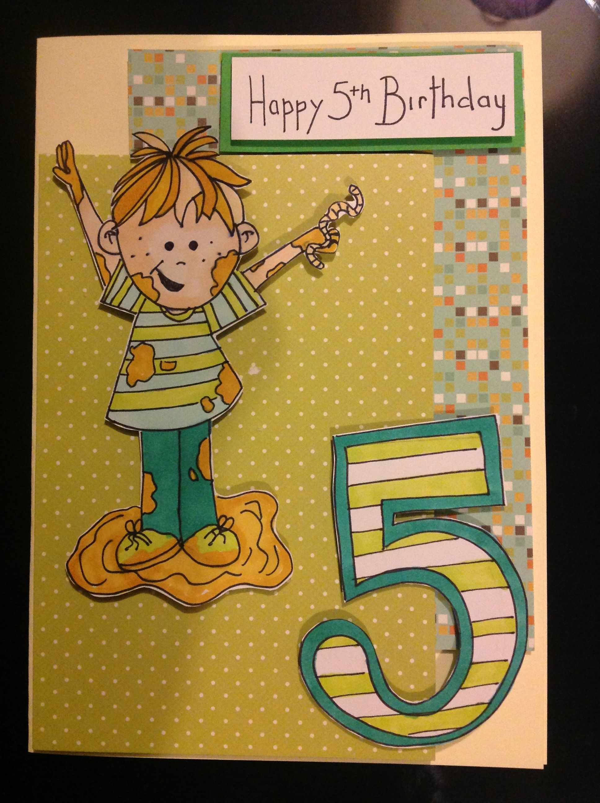 Home Made Hand Drawn Typical 5 Year Old Boy Birthday Card