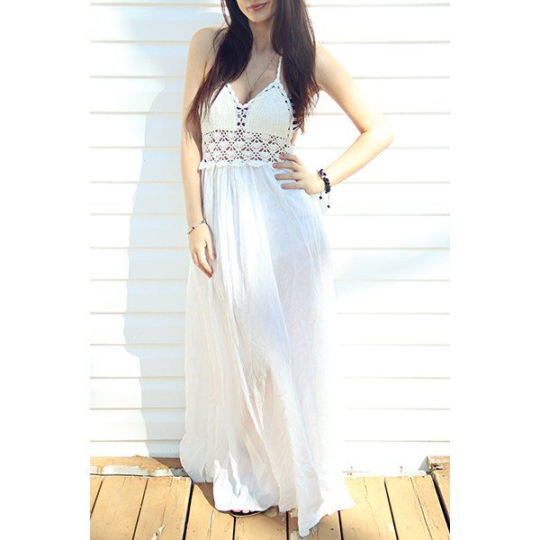 Sexy Halter Hollow Out Spliced Women's Maxi Dress — 11.84 € -----Size: M Color: WHITE