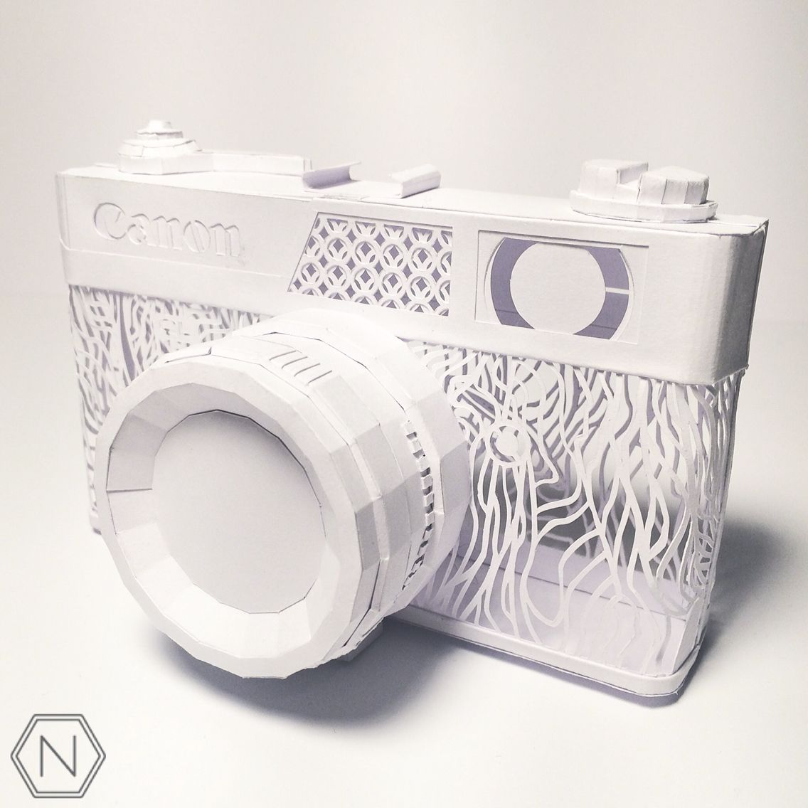 Paper sculpture Canon canonet AL-17 camera made out of a single ...