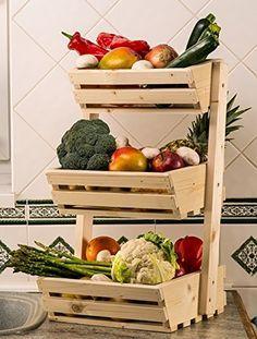 3 Niveaux De Rangement En Bois Pour Fruits Legumes Aliments Porte Classique Amazon Fr Cuisine Maiso Rangement Legumes Rangements De Fruits Stand De Legumes