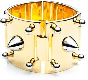 Eddie Borgo Two Tone Studded Gold Plate Cuff on shopstyle.com