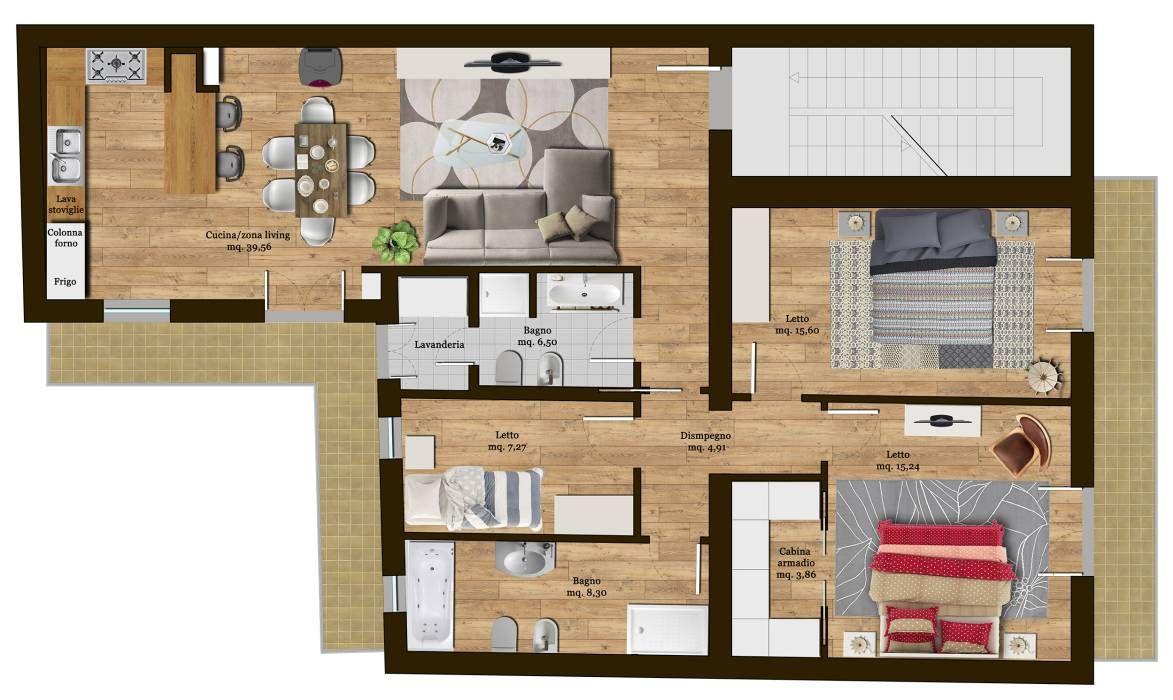 Progetto di rimodulazione interna di un appartamento for Ristrutturare appartamento 75 mq