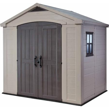 Keter Factor 8 X 6 Resin Storage Shed All Weather Plastic Outdoor Storage Beige Taupe Walmart Com Outdoor Storage Sheds Keter Sheds Outdoor Sheds