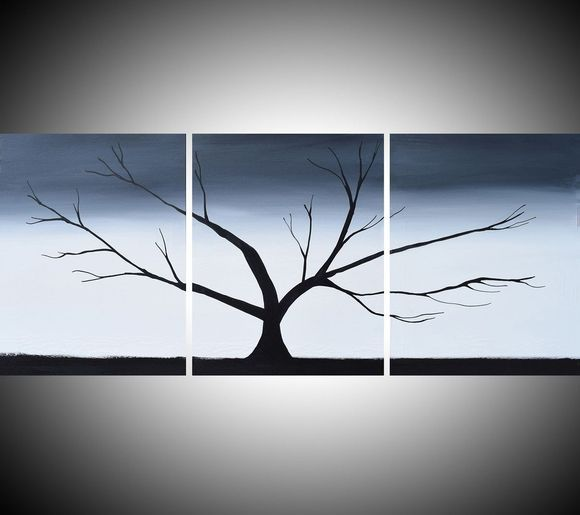Triptych Black And White 3 Panel Wall Art Color Black White Tree In