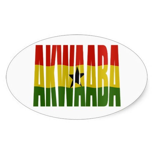 Akwaaba youre welcome twi ghana flag oval stickers
